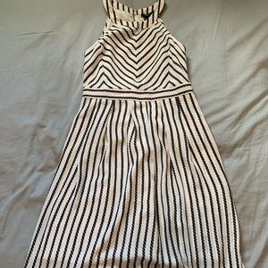 Ann Taylor Midi Black and Cream Stripped Dress